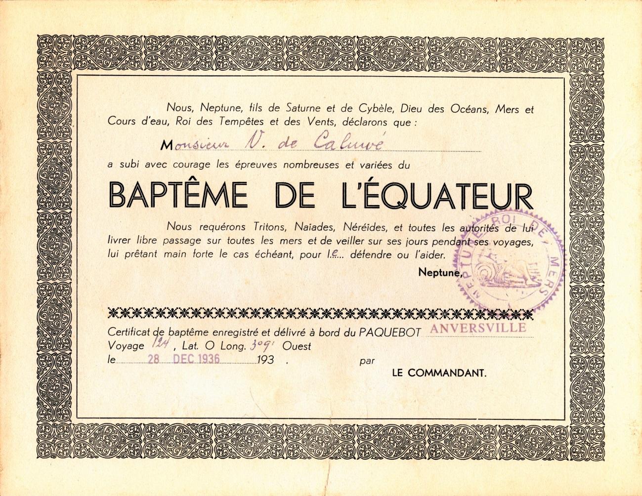 ss ANVERSVILLE, 1937 - Certificat de Baptême de l'équateur de Victor de Caluwé